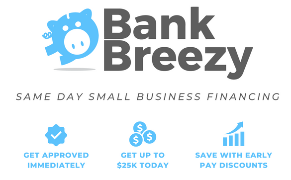 DAC Bank Breezy Same Day Business Relief Capital - Immediate approval & same day funding from $2,500 - $25,000. Available for any use. Bad credit ok.  Get a decision in minutes. See what your business qualifies for now!
